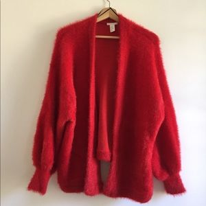 Oversized fluffy red cardigan